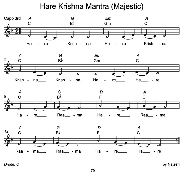 Hare Krishna Mantra Majestic Sheet Music